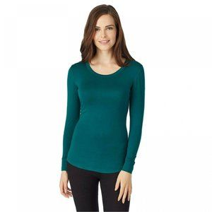 NWT Smooth Stretch Thermal Scoop Top Small Green
